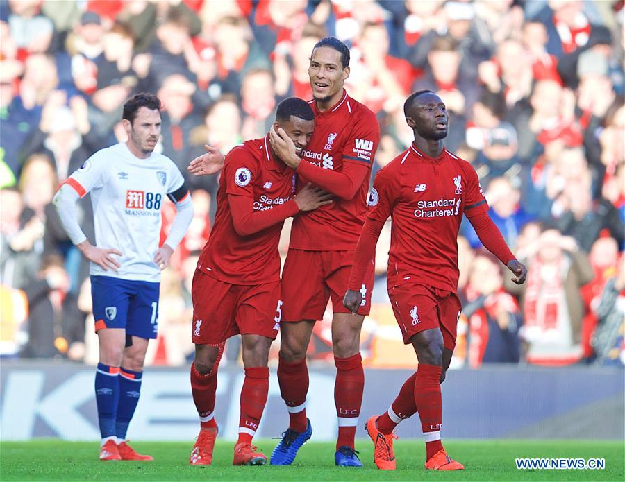 Liverpool beats Bournemouth 3-0 during English Premier League match in Britain