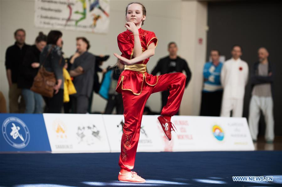 Athlete perform at Fifth Lithuanian Open Wushu Championship in Vilnius, Lithuania