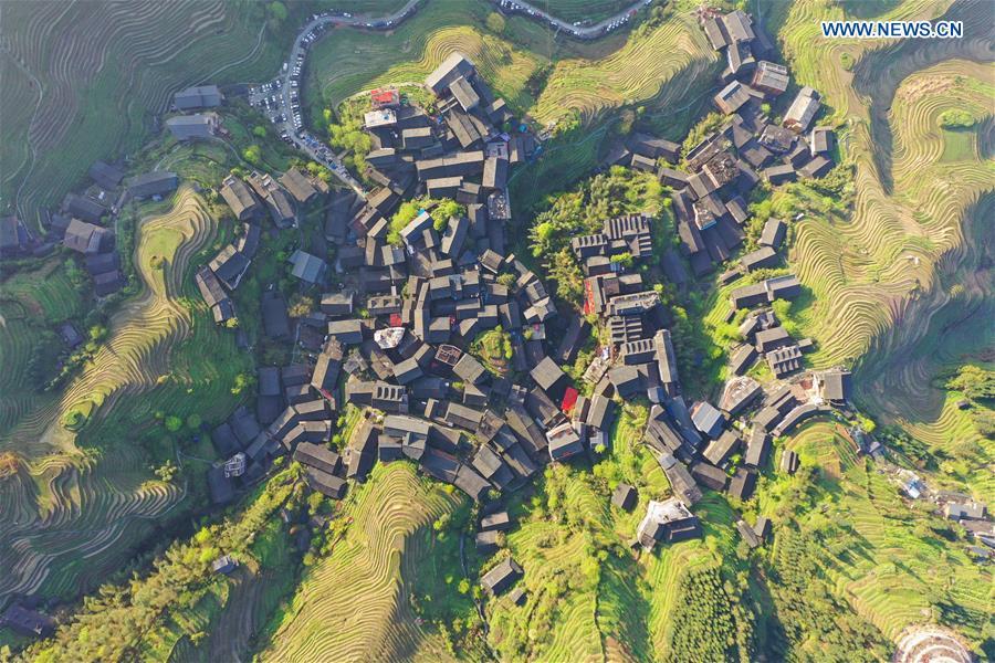 Aerial view of Ping'an Village in Longsheng County, China's Guangxi