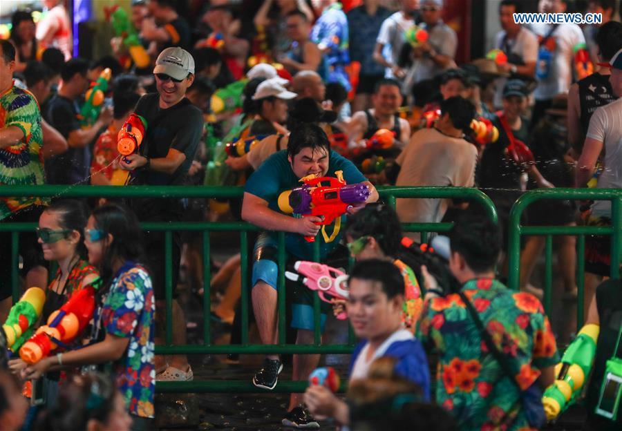 People celebrate water festival in Bangkok, Thailand