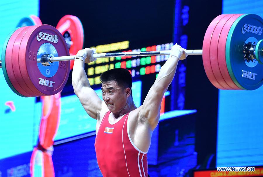 Highlights of men's weightlifting 81kg event at Asian Weightlifting Championships
