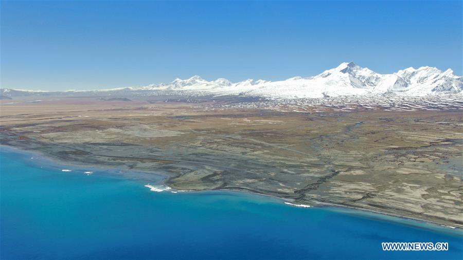 Aerial view of Baiku Co in SW China's Tibet