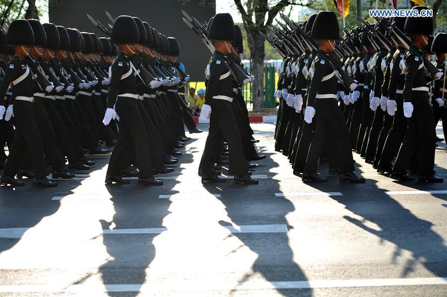 Thai Royal Guard rehearse upcoming Royal Coronation ceremonies in Bangkok