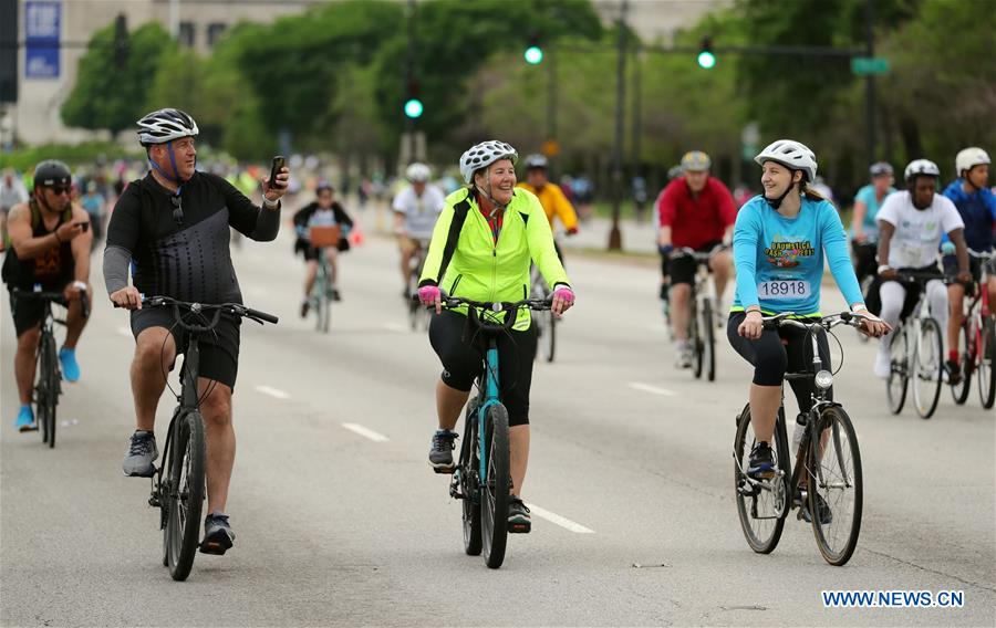 Cyclists participate in Bike the Drive on Lake Shore Drive in Chicago, US