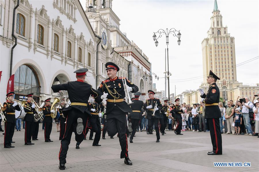 Cadets of Moscow Military Music College perform in Russia