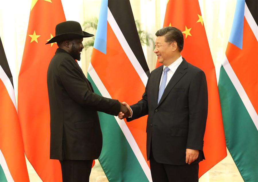 Chinese President Xi Jinping (R) meets with South Sudanese President Salva Kiir at the Great Hall of the People in Beijing, capital of China, Aug. 31, 2018 Xinhua.jpg