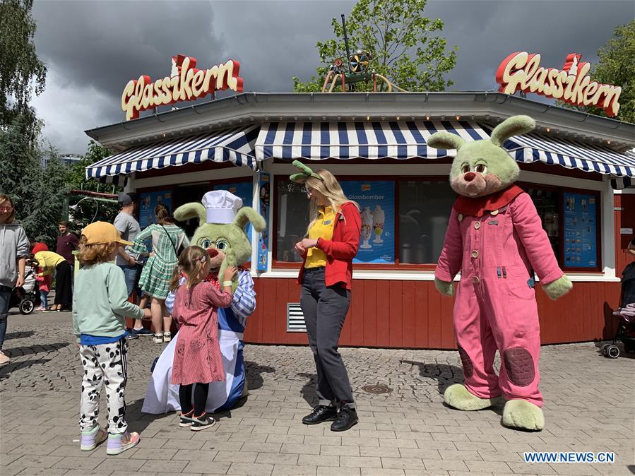Visitors play at Liseberg in Gothenburg, Sweden
