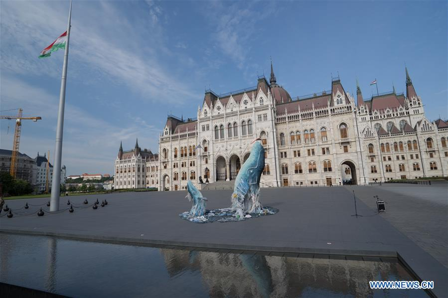Whale sculptures swimming in plastic trash displayed in Budapest