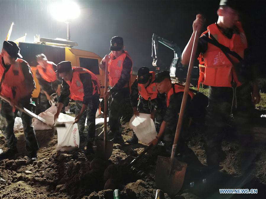 Maquan Dyke collapses due to heavy rainstorms in Yingtan, E China's Jiangxi