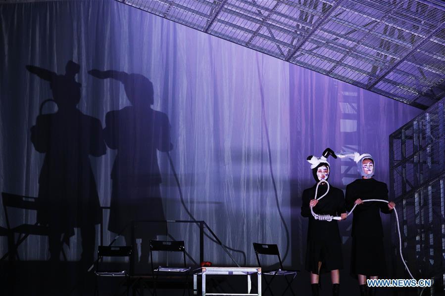 Rehearsal of 'Teahouse' performed in Avignon, France
