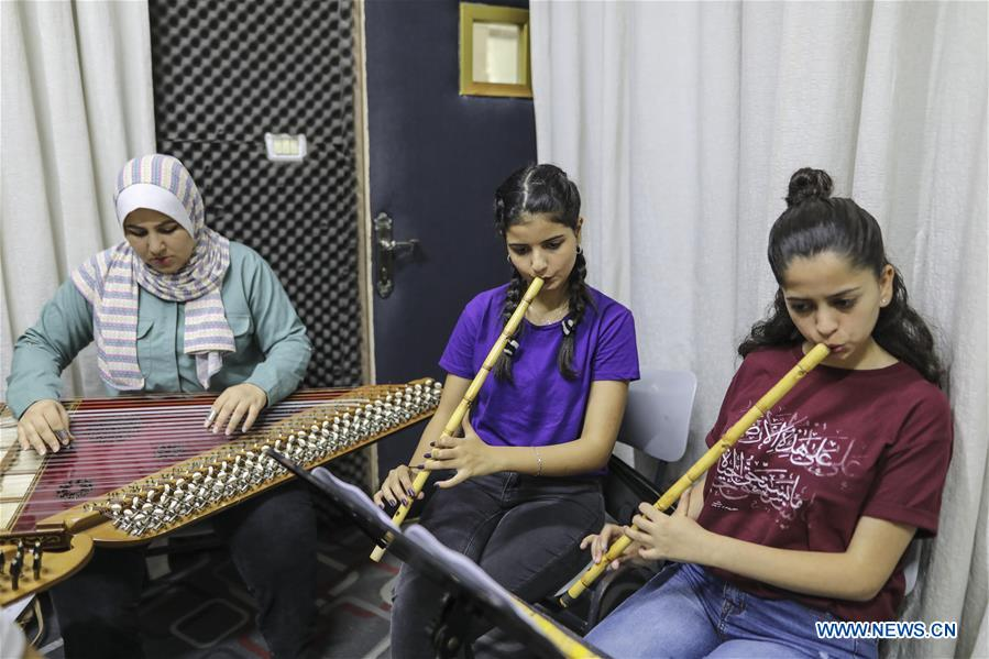 Palestinian students attend summer music camp at Edward Said National Conservatory of Music in Gaza