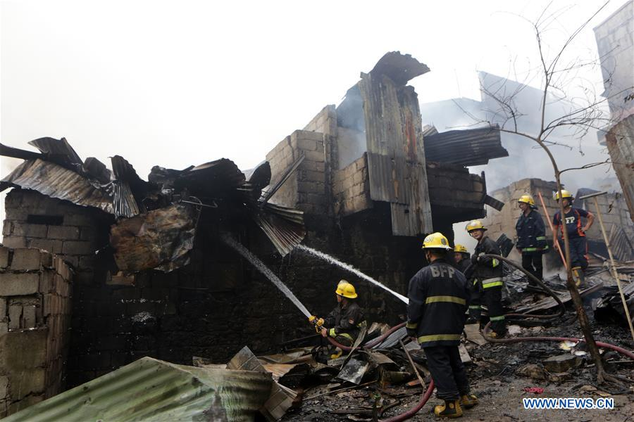Fire breaks out in slum area in Quezon City, the Philippines