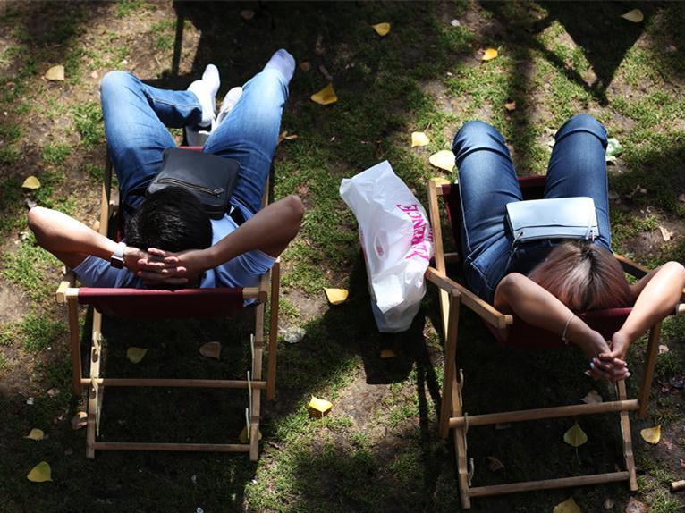 People take nap during Paris Plage in France
