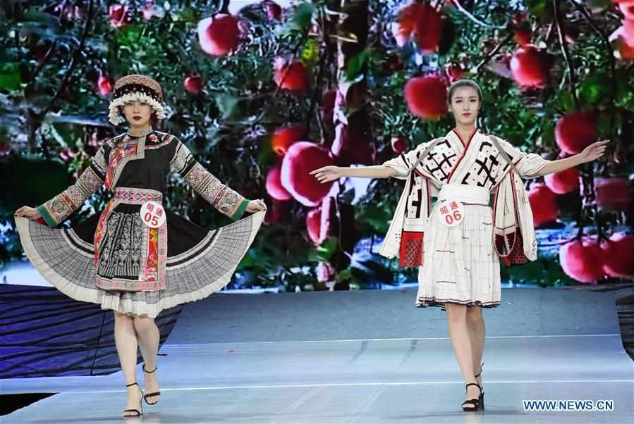 Traditional ethnic costumes presented during fashion show in Yunnan