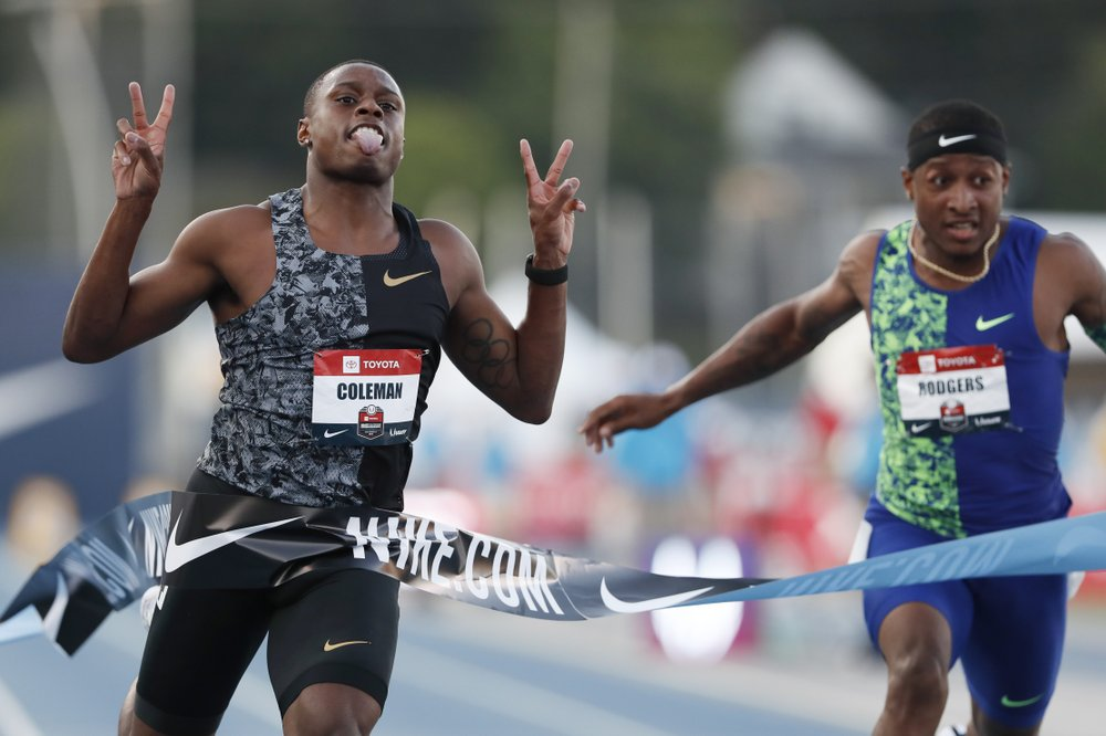 Coleman takes 100m US national title as Gatlin sits out final