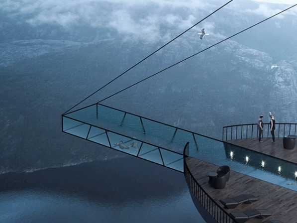 Architectural design studio to create hotel suspended from cliff