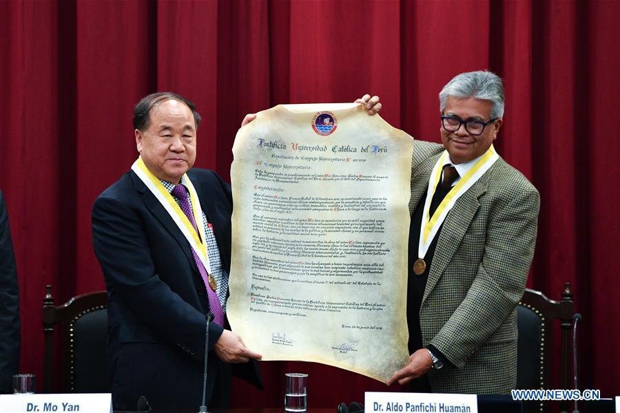 Chinese Nobel laureate Mo Yan receives honorary doctorate from Peruvian university
