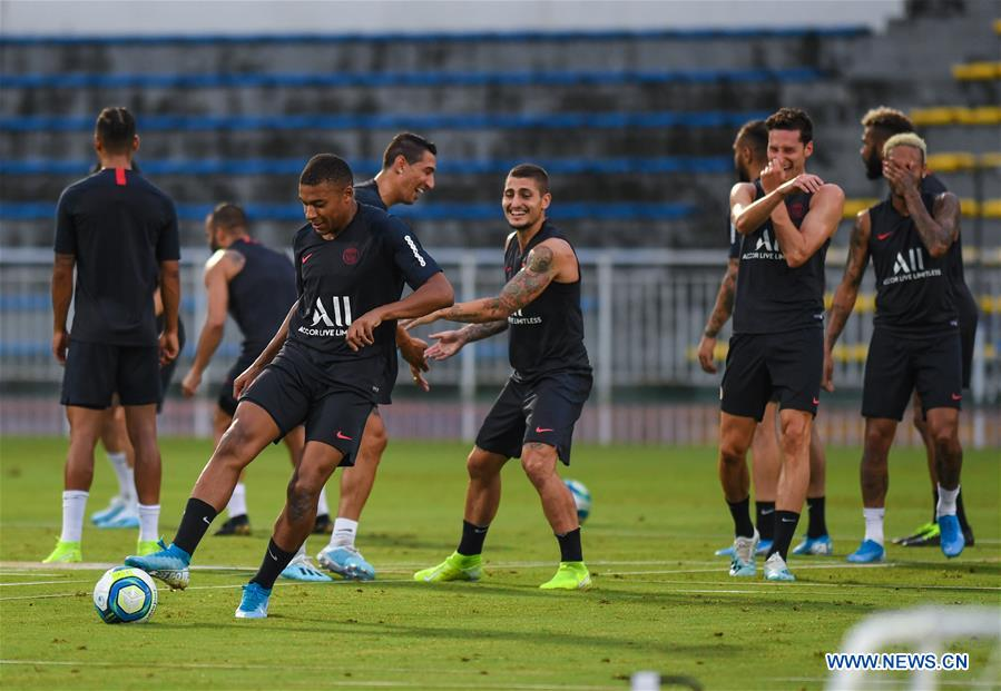 Players of Paris Saint-Germain attend training session in Shenzhen
