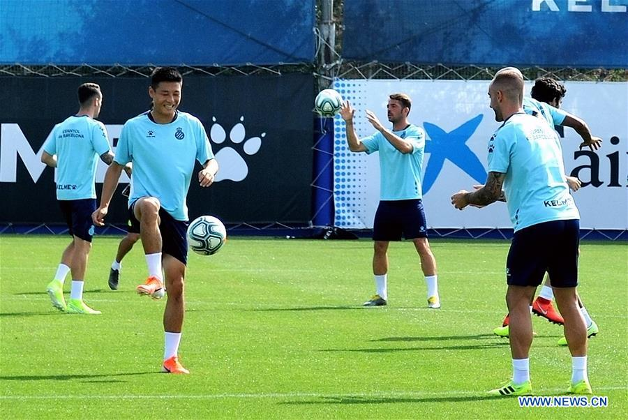 Players of RCD Espanyol take part in open training session of Spanish league in Barcelona