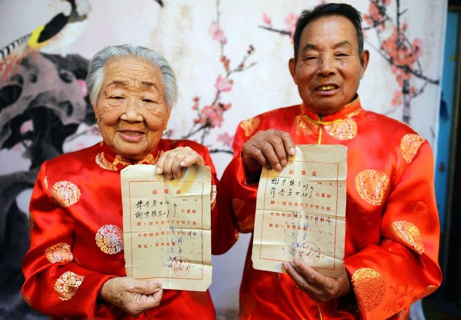 China's marriage certificates over the years