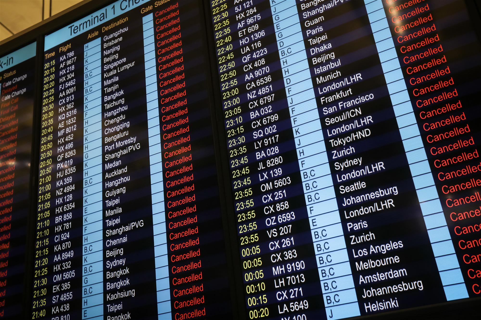 All HK flights canceled due to radical violent acts