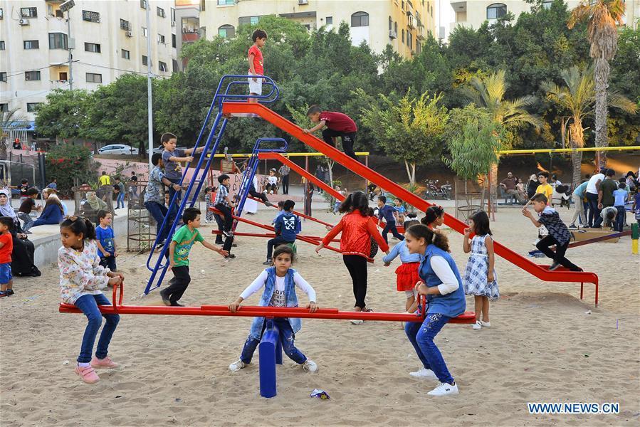 Palestinian children enjoy Eid al-Adha holiday in Gaza City