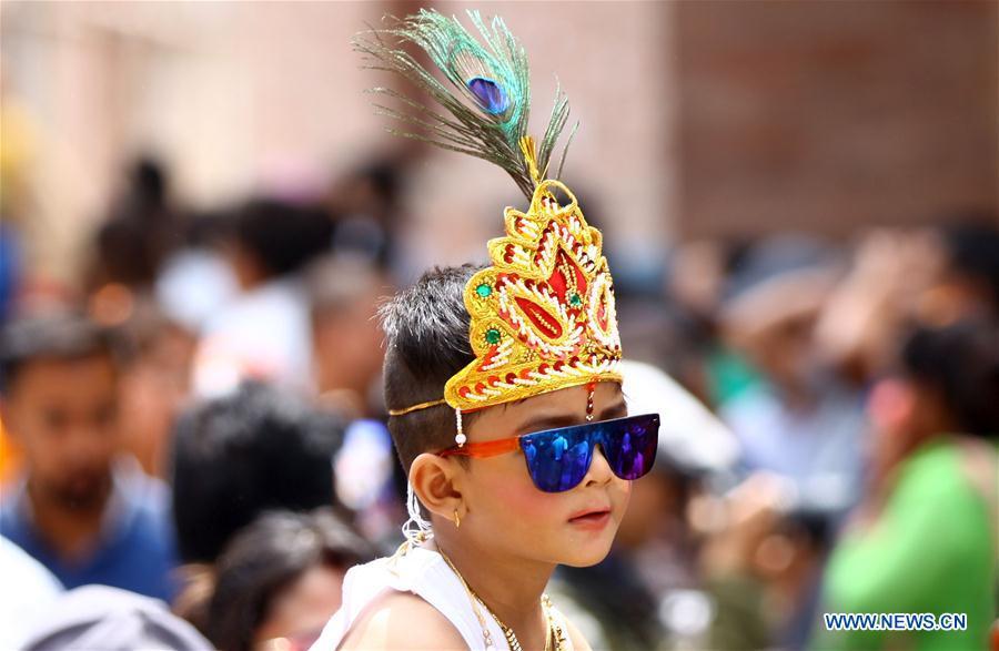 Hindus celebrate Gaijatra festival in Kathmandu, Nepal