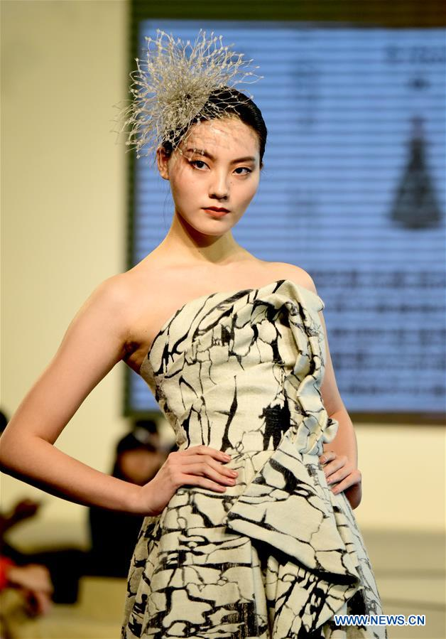 Creations presented during competition of fashion design in China's Taiwan