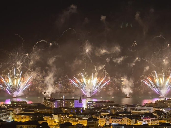 Fireworks illuminate sky during 2019 Cannes Festival of Pyrotechnic Art