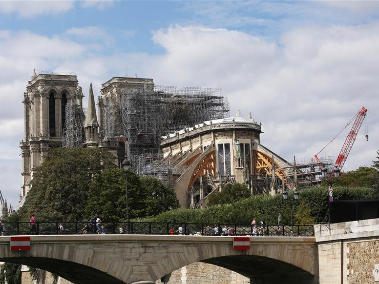 Notre Dame Cathedral under repairs in Paris, France