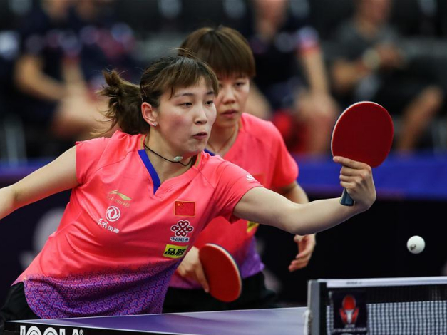 China competes with France at women's doubles round of 16 match of 2019 ITTF Czech Open