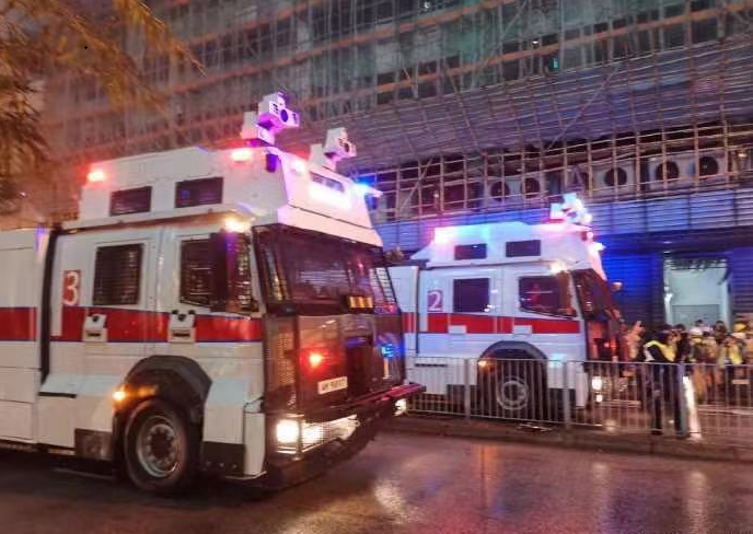 Hong Kong police use water cannon to subdue protests