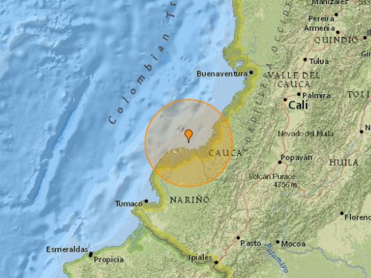 5.3-magnitude quake hits 28 km NW of Guapi, Colombia -- USGS