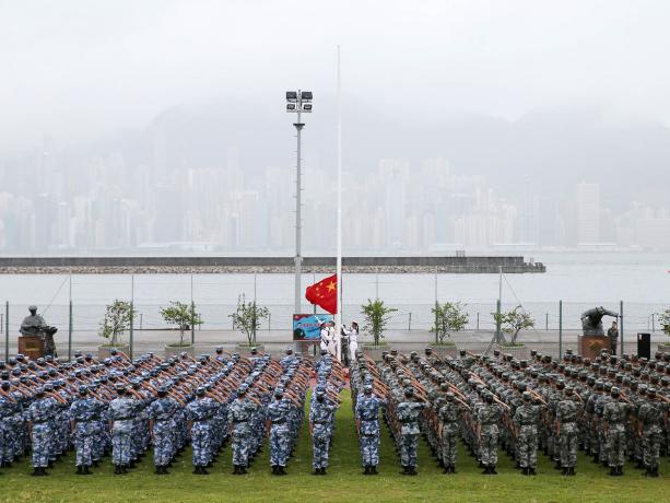 PLA garrison in Hong Kong holds national flag-raising ceremonies