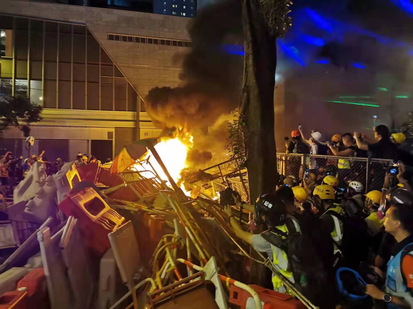 Rioters in Hong Kong vandalize government buildings, throw petrol bombs