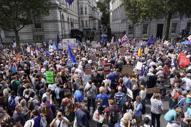 Parliament's suspension before Brexit protested across UK