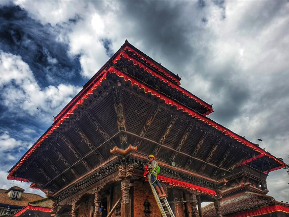People decorate temple for upcoming Indrajatra festival in Nepal