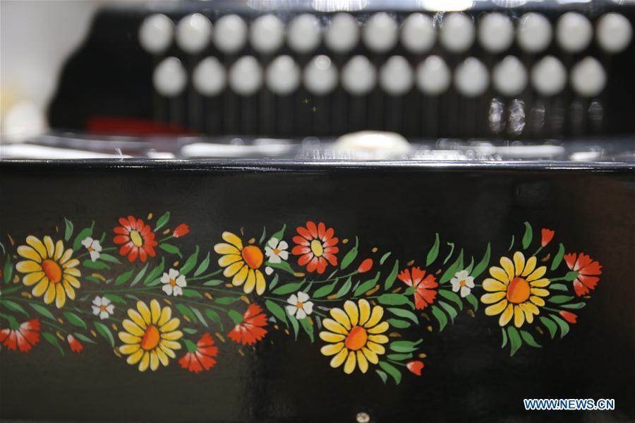 Accordions displayed at Tacheng accordion museum in China's Xinjiang
