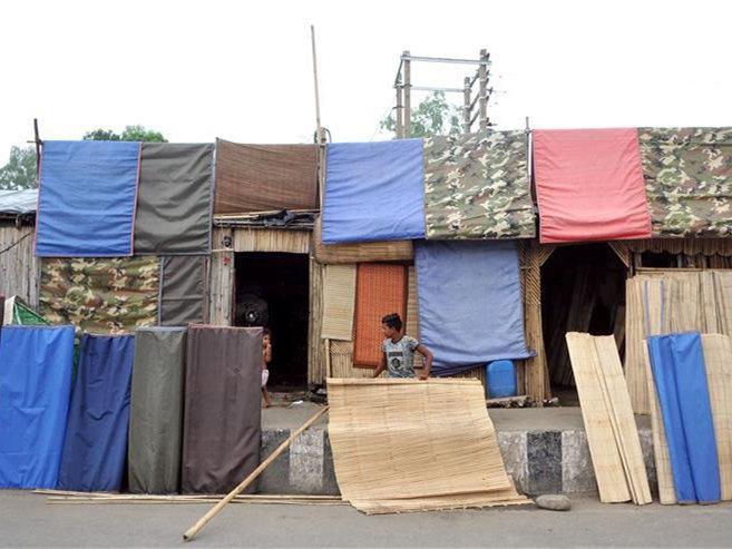 Bamboo window shades seen in Jammu, Indian controlled Kashmir