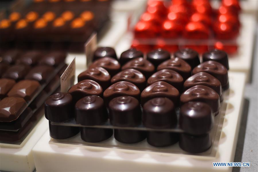 In pics: chocolate candies at shop in Brussels