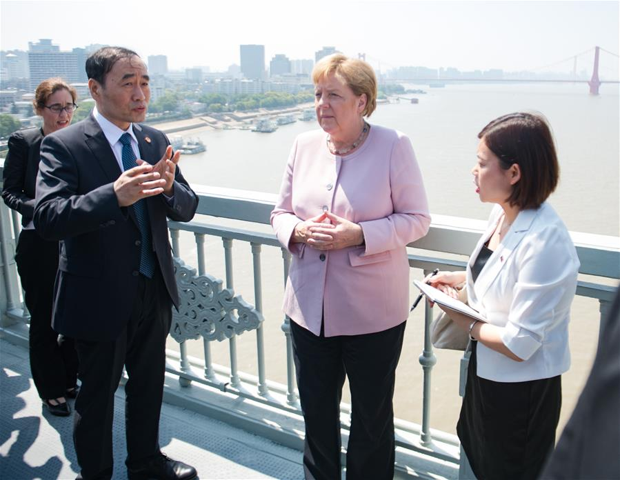 German Chancellor Merkel visits central China's Wuhan
