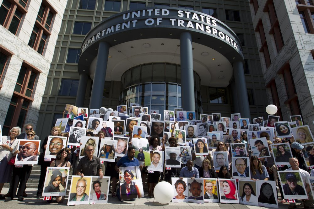 Relatives of passengers killed in Boeing crash protest in DC