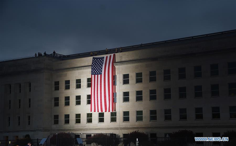 18th anniversary of 9/11 terrorist attacks marked at Pentagon, U.S.