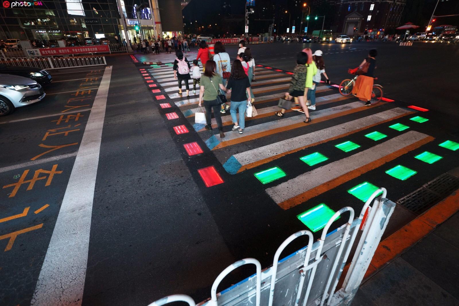 Smart Zebra Crossing Featuring Solar-powered Lighting Installed