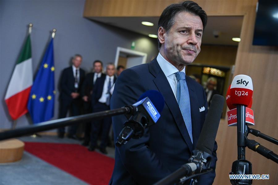 Italian PM attends press conference in Brussels, Belgium
