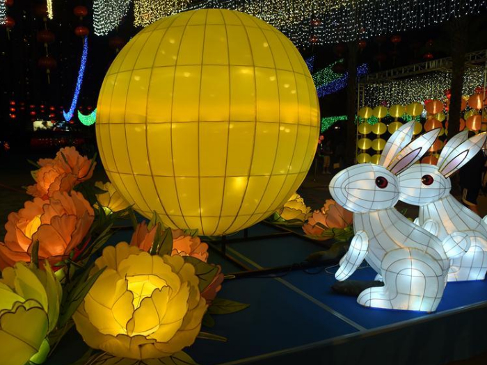 Lantern fair held to celebrate Mid-Autumn Festival at Victoria Park in Hong Kong