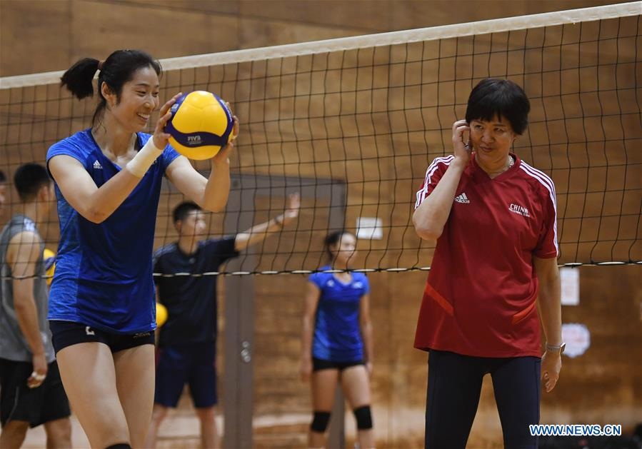 Chinese volleyball team holds raining session before 2019 Volleyball Women's World Cup
