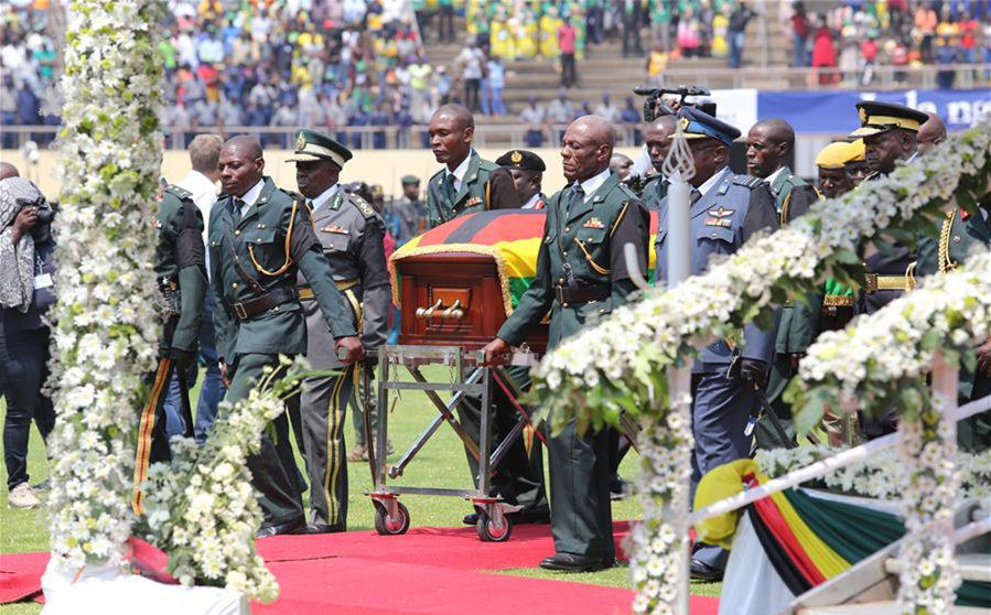 African leaders pay tribute to late Zimbabwe's Mugabe at state funeral in Harare