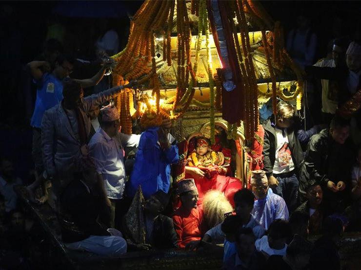 People celebrate during Indrajatra Festival in Kathmandu, Nepal