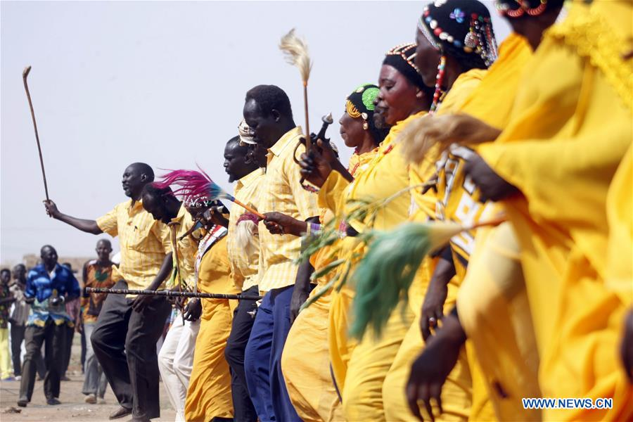 People perform dancing to mark Int'l Day of Peace in Khartoum, Sudan